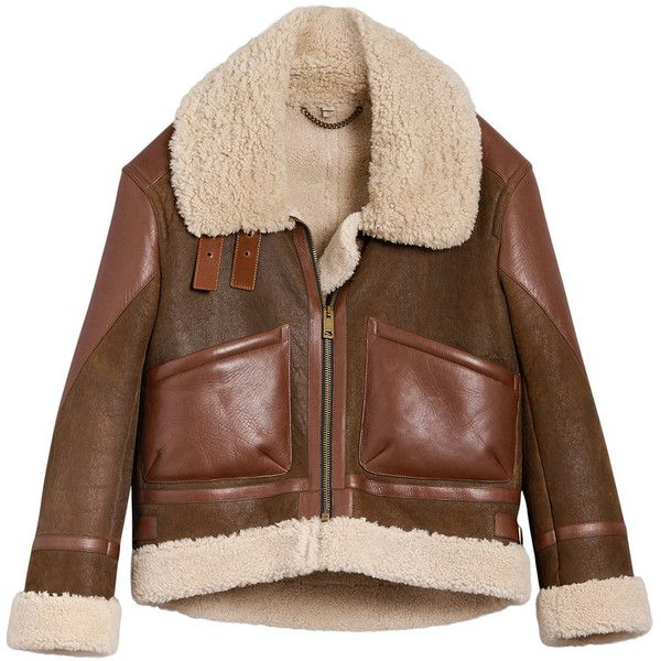 Burberry panelled aviator jacket ($3,438) ❤ liked on Polyvore featuring outerwear, jackets, brown, brown aviator jacket, panel jacket, oversized collar jacket, burberry and aviator jacket