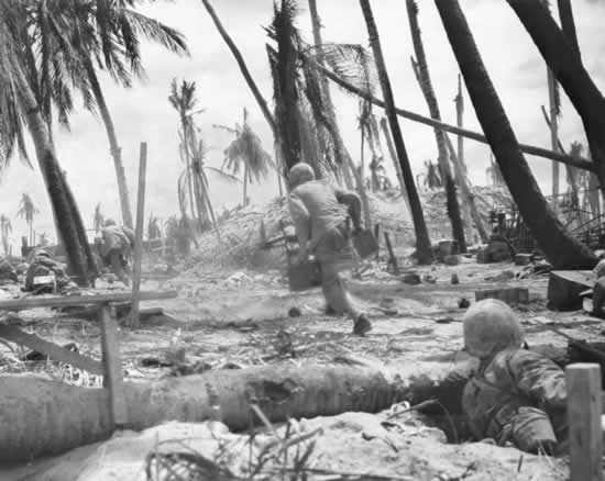 Tarawa.   I noticed that when you see pictures of the battle of TArawa, the marines are either shooting, running, duff under cover. This was a brutal battle in the pacific against a format able Japanese opponent.