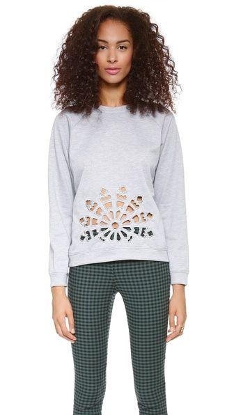 laser cut sweatshirt - looks like a snowflake!