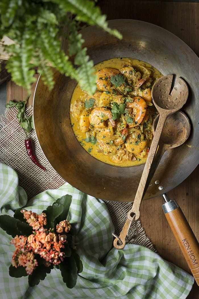 Coco and Ginger sauce Prawn with Thai. Langostinos en salsa de coco y Jengibre con Arroz Thai