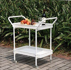 Wicker Lane ORI002-B Wicker Serving Cart, White by Wicker Lane. $124.99. Durable steel frame. Easy to clean. 4 wheels make moving the cart easy. Wrapped in all weather resin wicker. 2 storage shelves. This all weather Wicker Serving Cart from Wicker Lane is durable and built to withstand the outdoor elements. The frame of this cart is made of steel which is covered by a resin wicker which, unlike traditional wicker, will not dry out, crack or absorb wa