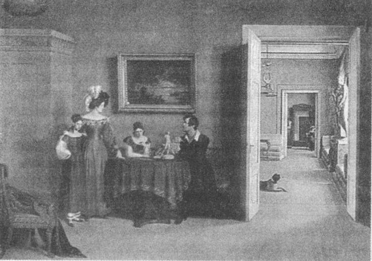 Анфилада парадных комнат в квартире Ф.П. Толстого заканчивается зеркалом. Картина Ф.П. Толстого. Семейный портрет, 1830