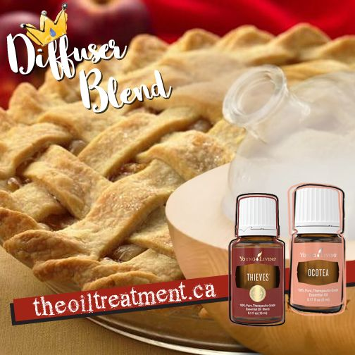 Apple Pie Diffuser Blend. All you need is Young Living Thieves® Essential Oil Blend and Young Living Ocotea Essential Oil.