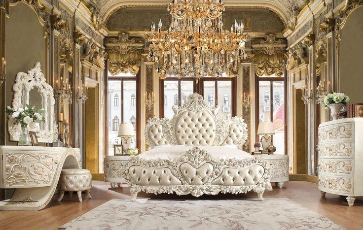 Homey Design Hd 8030 4pc California King Bedroom Set In White Mobilier De Chambre A Coucher Meuble Chambre A Coucher Chambres Luxueuses