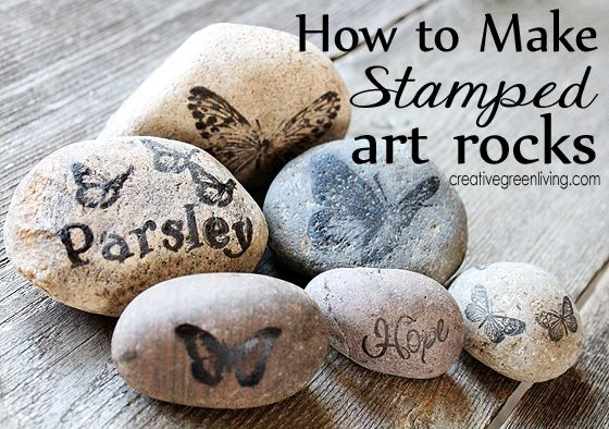 How to make stamped art rocks for your home or garden. (plus a giveaway for the stamps the blogger used through 8/2/13!)