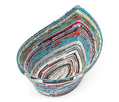 90186270 - Recycled Magazine Teardrop Bowl