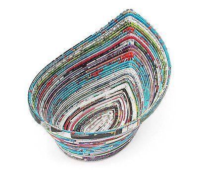 90186270 - Recycled Magazine Teardrop Bowl