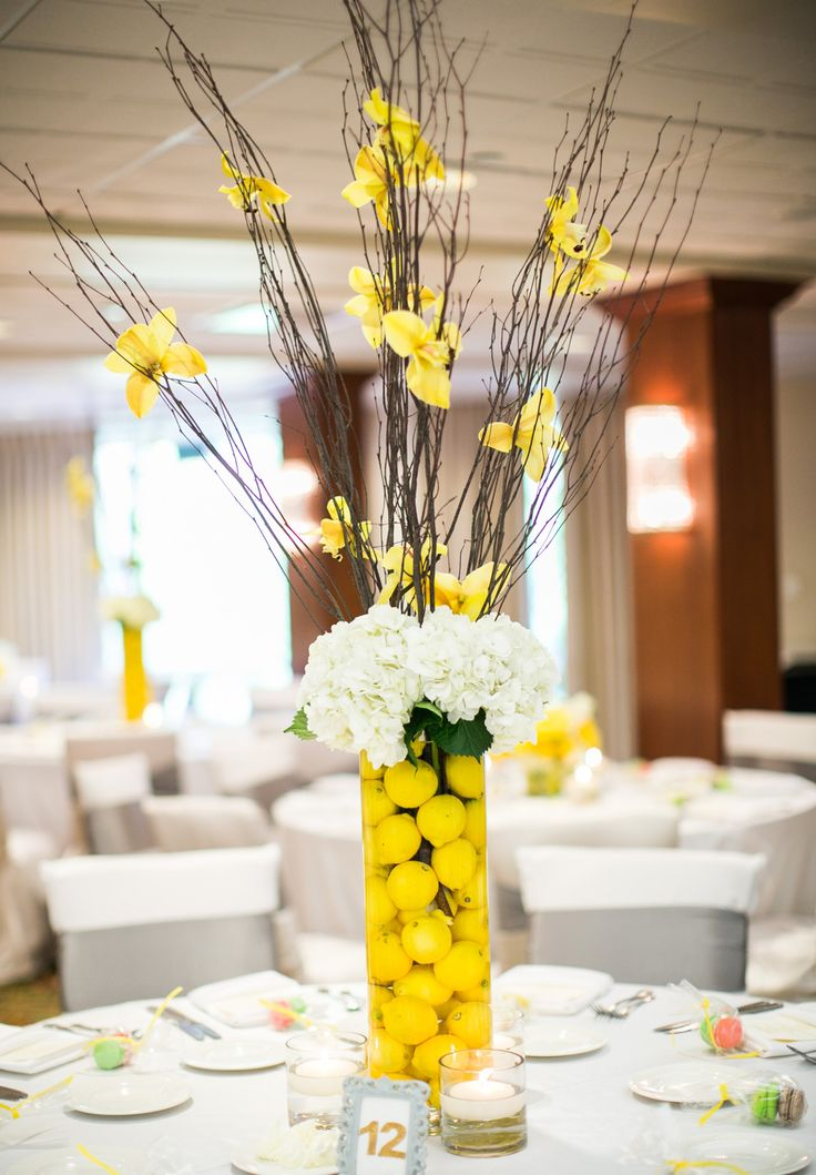 18 best my yellow lime green and gray diy wedding images for Yellow flower centerpiece ideas
