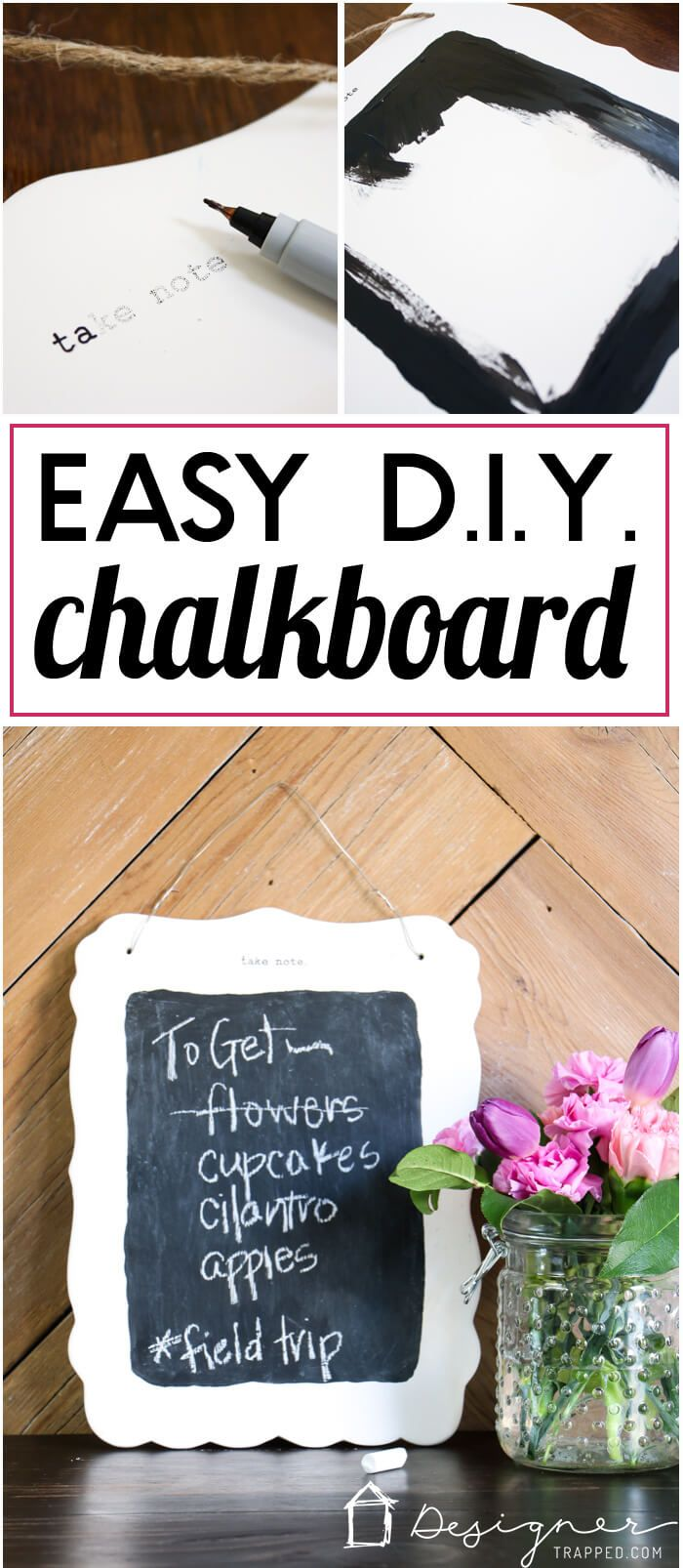 I forget things ALL THE TIME. This DIY small chalkboard is so cute and is perfect for keeping track of things you can't forget to do. Next up on my to do list...make a DIY chalkboard, lol!