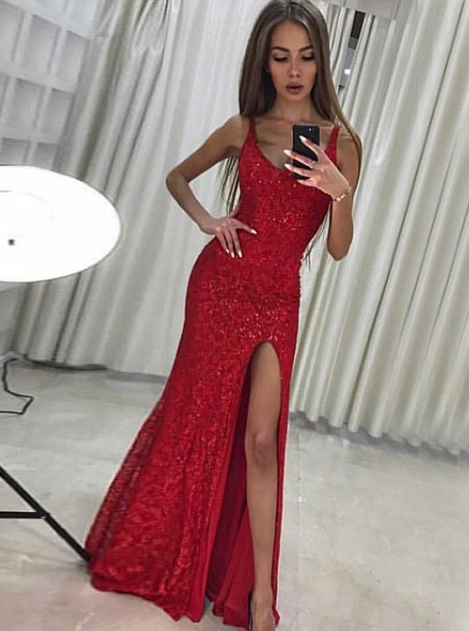 29dc495cae8 Mermaid Scoop Long Red Sequined Prom Dress with Split.