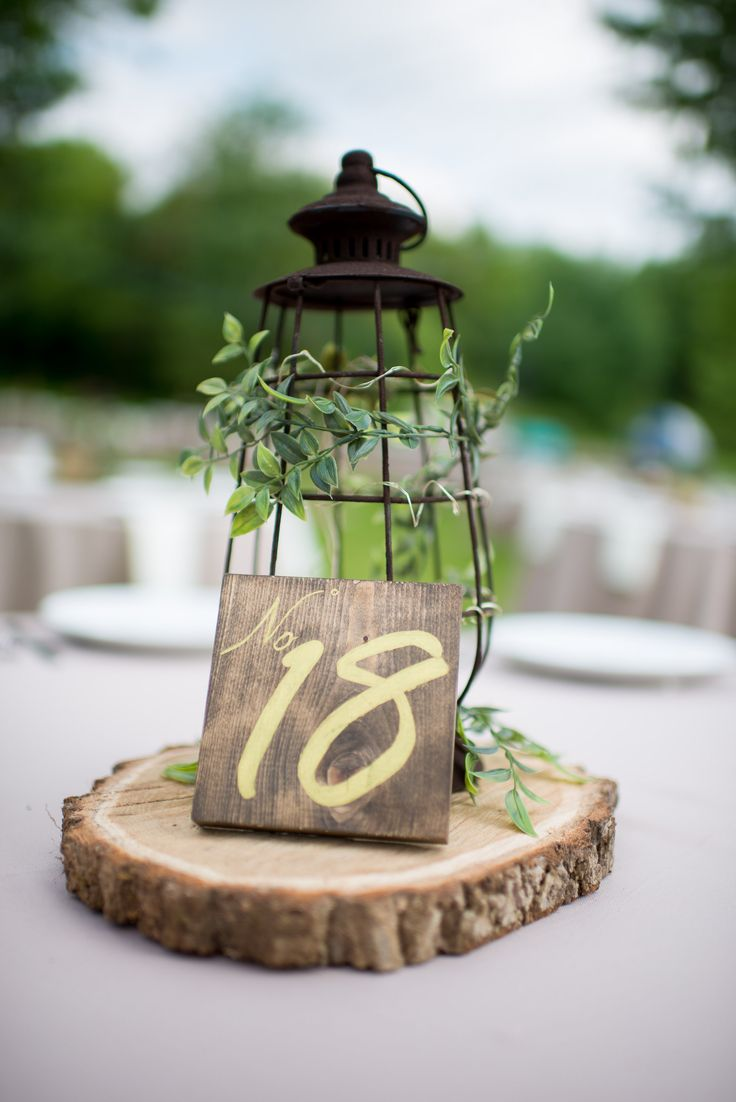 Rustic lantern and wood centerpiece wedding b t
