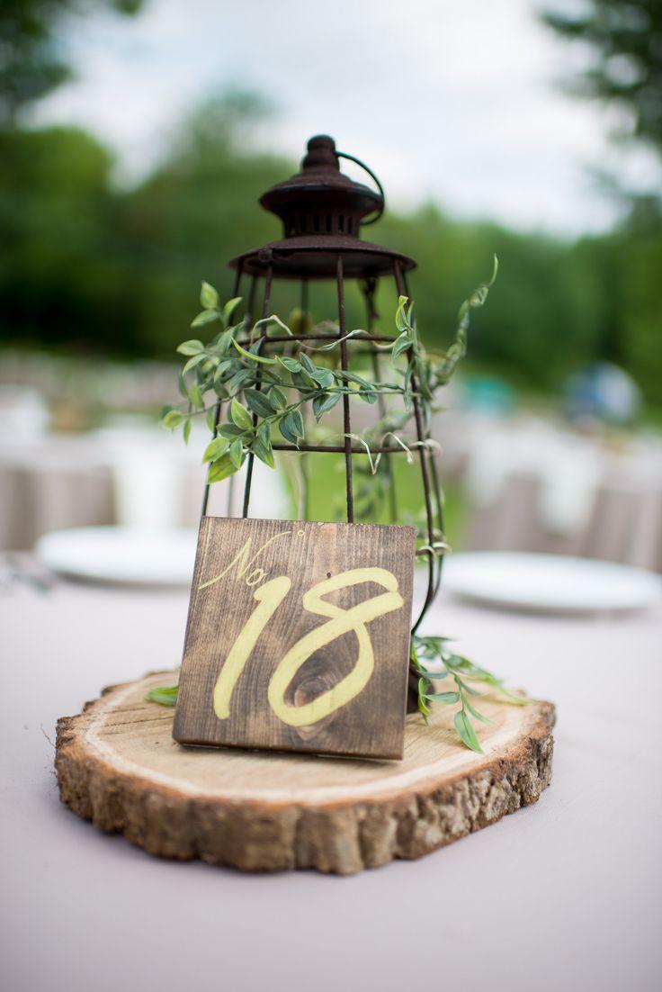 Rustic lantern and wood centerpiece wedding b t