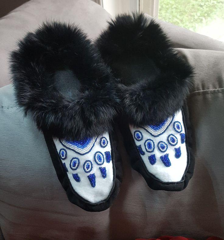 #beaded vamps #bear print #hand beaded moccasins.