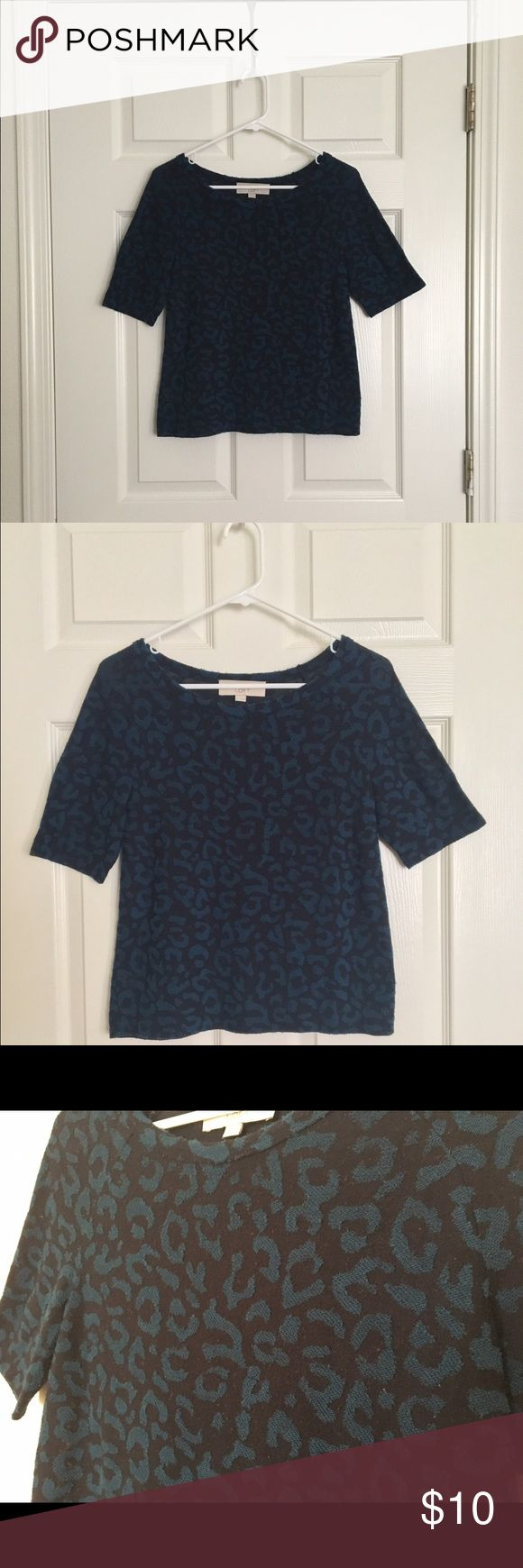 Navy Leopard Print Shirt Ann Taylor LOFT/ Size XS/ Navy blue with light blue leopard print/ In fair condition with some pilling/ Has been washed/ Let me know if you have questions! LOFT Tops Tees - Short Sleeve