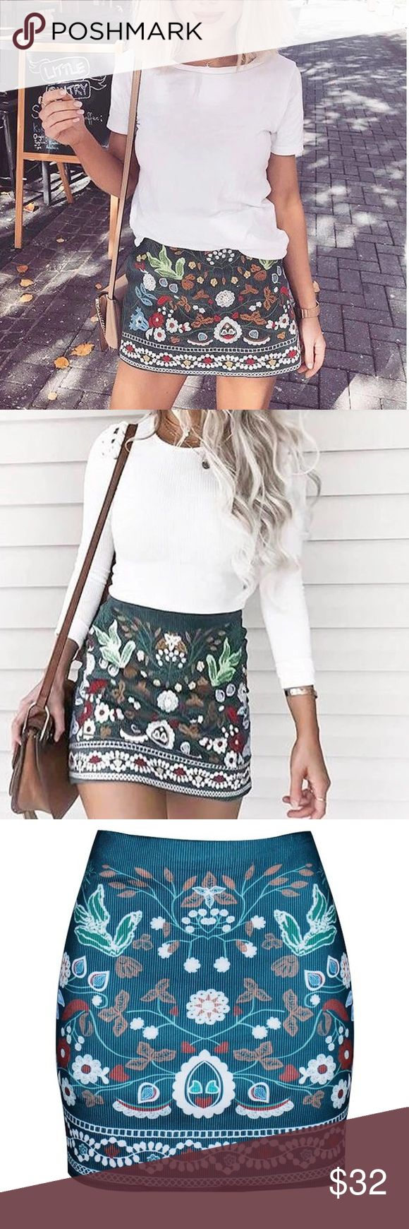 Boho tunic top blouses and dress 4009 trendy boho vintage gypsy -  Boho Floral Print Fitted Mini Skirt Boutique