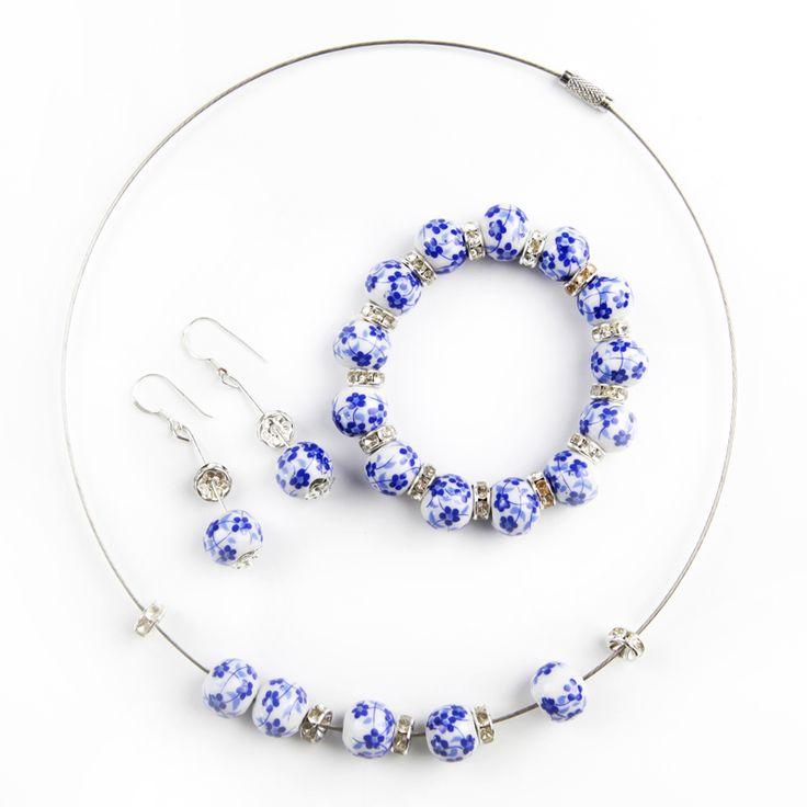 Классическая Керамическая ручной работы ювелирные наборы мода синие и белые фарфоровые бусы ожерелье браслет серьги набор