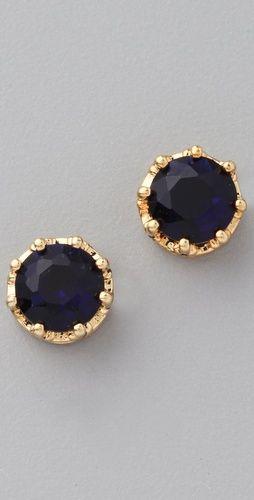 : Classic Earrings, Beautiful Earrings, Princess Studs, Juicy Couture, Black Gold, Sapphire Earrings, Gold Studs, Gold Earrings