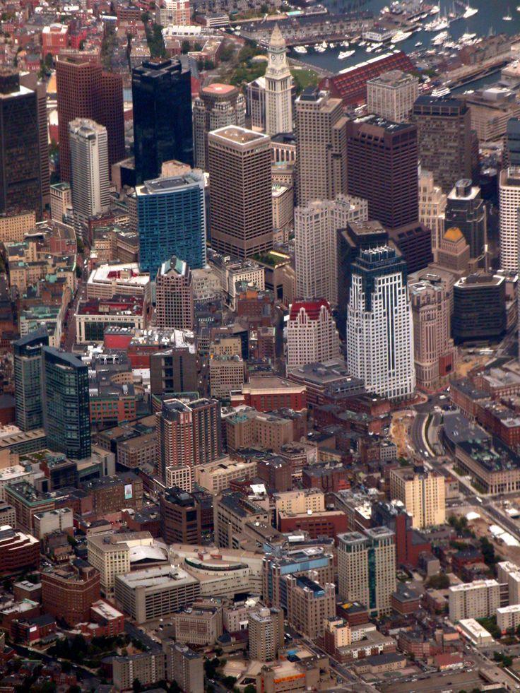 Vista aérea del centro de Boston, considerada como la capital cultural e histórica de Nueva Inglaterra