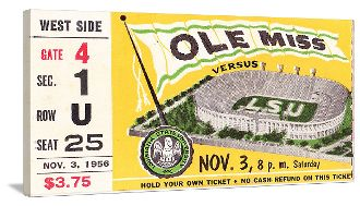 The best football gifts! FOOTBALL ART- 1956 MISSISSIPPI VS. LSU made from an authentic LSU football ticket.
