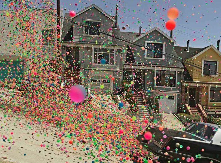 250,000 bouncy balls in San Francisco. video http://www.youtube.com/watch?v=HRWk3IeM4to
