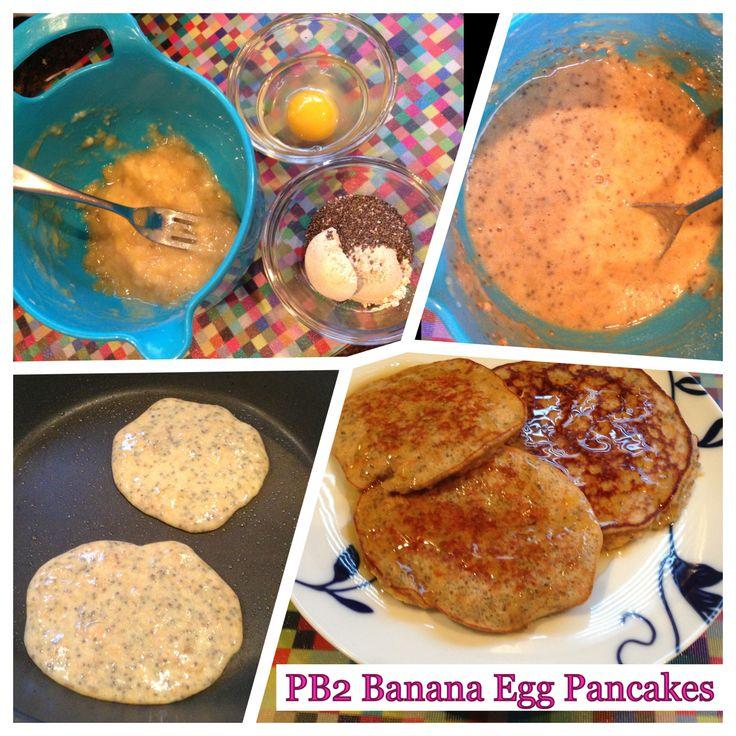 PB2 Banana Egg Pancakes! Great WW delicious breakfast. www.anotherpoundlost.com
