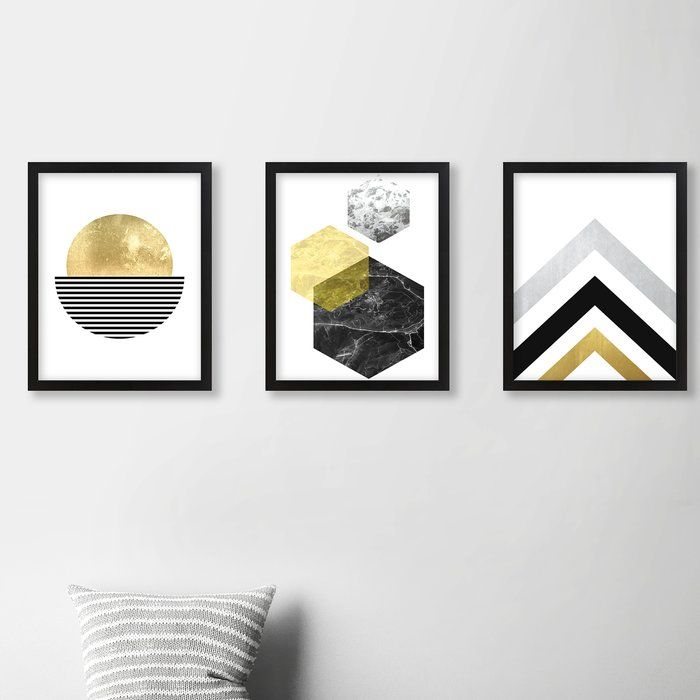 Geometric 3 Piece Graphic Art Print Reviews Allmodern Wall Art Sets Framed Wall Art 3 Piece Canvas Art