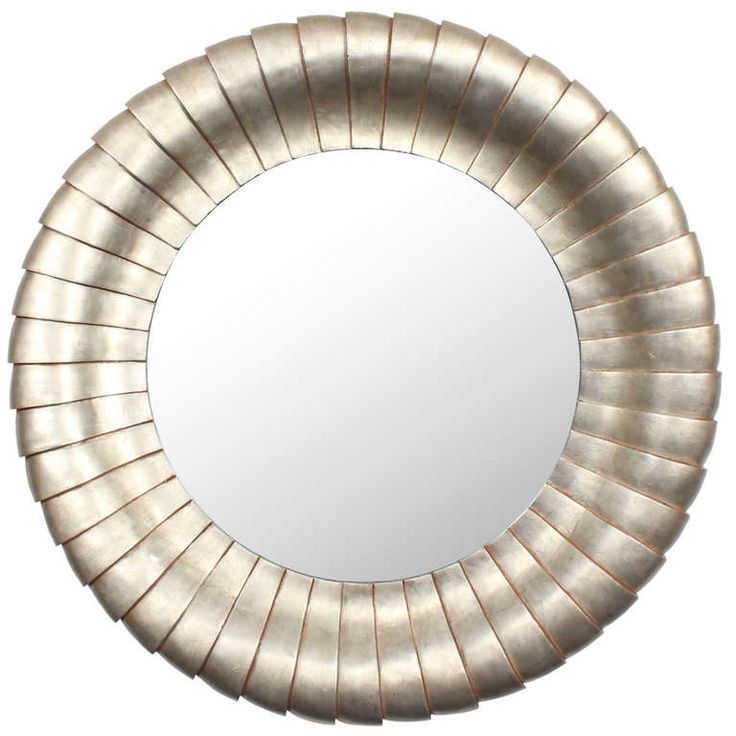 Large Round Silver Mirror Part - 37: Large Round Silver Gilt Mirror