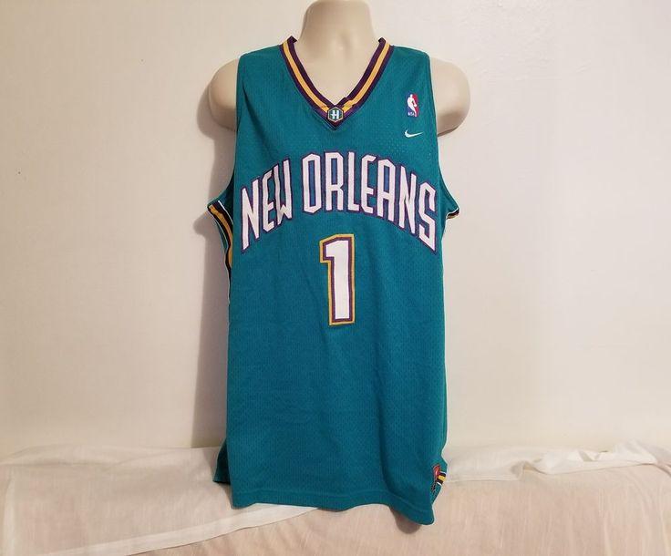 NIKE Baron Davis #1 New Orleans Hornets Adult Green XL Jersey #Nike #NewOrleansHornets