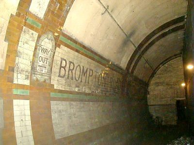 Brompton Road, disused tube station on the Underground. I have always wanted to explore the locked off parts, but I know it is strictly off limits.