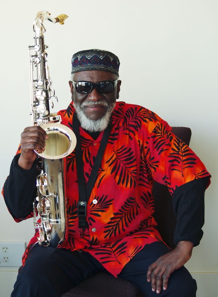 Love a man who wears red. Pharaoh Sanders, the legendary tenor sax player.