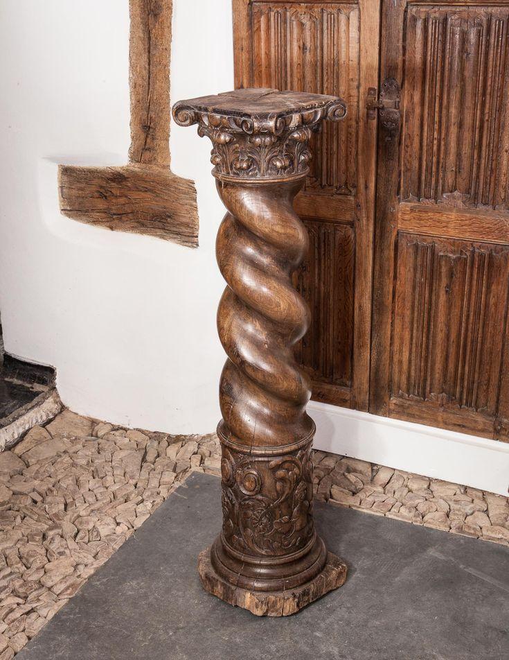 Renaissance oak carved column, circa 1560. Marhamchurch antiques