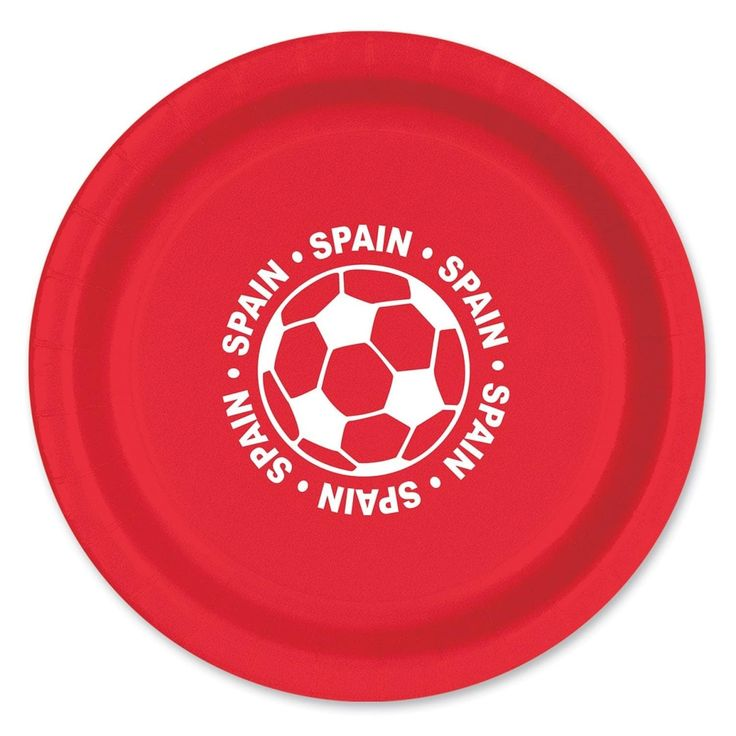 """Club Pack of 96 Red and White Disposable Spain"""" Soccer Ball Paper Party Dinner Plates 9"""""""