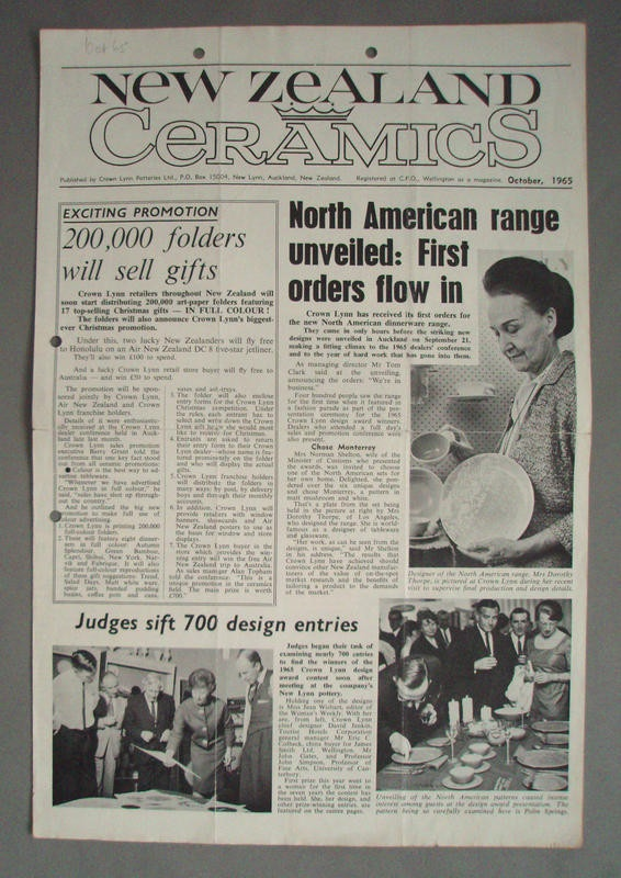Periodical - New Zealand Ceramics, Crown Lynn Potteries Limited, 1/10/1965, 2008.1.1272