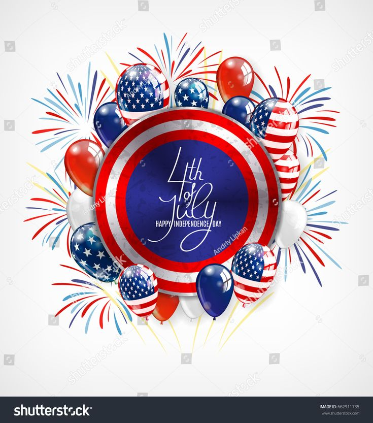 4th of July Independence Day greeting card , banner or invitation template. Roun…