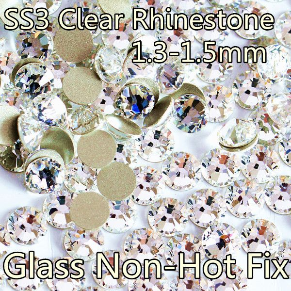 Promotion Shiny SS3-SS40 Clear Non Hot Fix Rhinestone DIY Fashion Nails Art Glitters Crystals Decorations