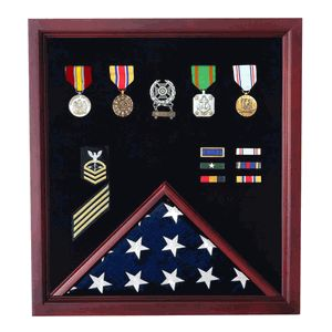 Military Flag and Medal Display Case - Shadow Box Veterans Made