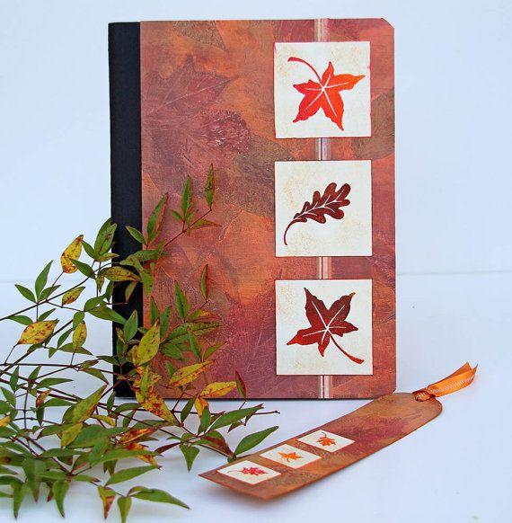Autumn Leaves Journal with Matching Bookmark door CarolaBartz