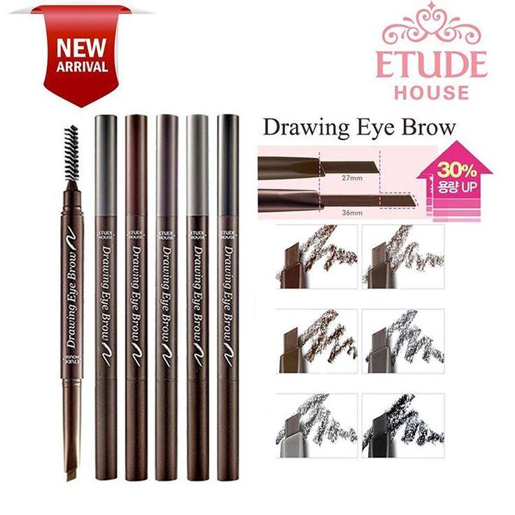 [ETUDE HOUSE]   Drawing Eye Brow . Rp 48.000,- .  Pensil alis dengan ujung pensil yg memiliki bagian tebal dan tipis, sehingga mudah diaplikasikan untuk membentuk alis. Dilengkapi dengan brush pada ujung lainnya. Pilihan warna : #01 Dark brown #02 Dark grey brown #03 Brown #04 Dark grey #05 Grey #06 Black #07 Light brown (NEW)
