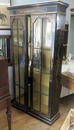 Chinoiserie china cabinet Hollywood Regency display cabinet for sale at Frugal Fortune, Lakewood, Ohio 44107.