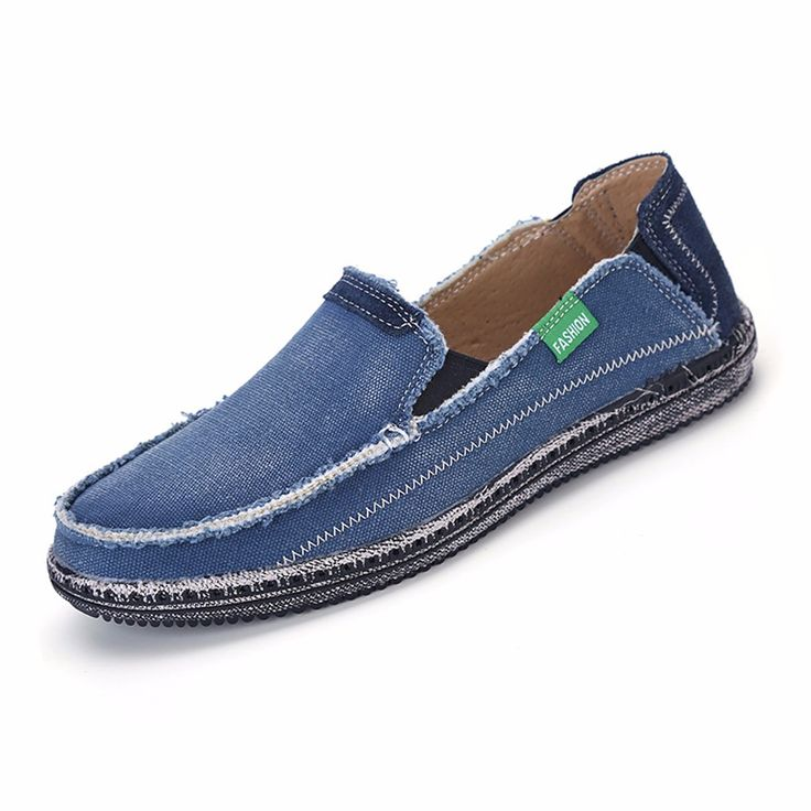URBANFIND Men Jeans Canvas Shoes Plus Size 39-45 Breathable Men Summer Slip On Flats Casual Driving Loafers. Click visit to buy