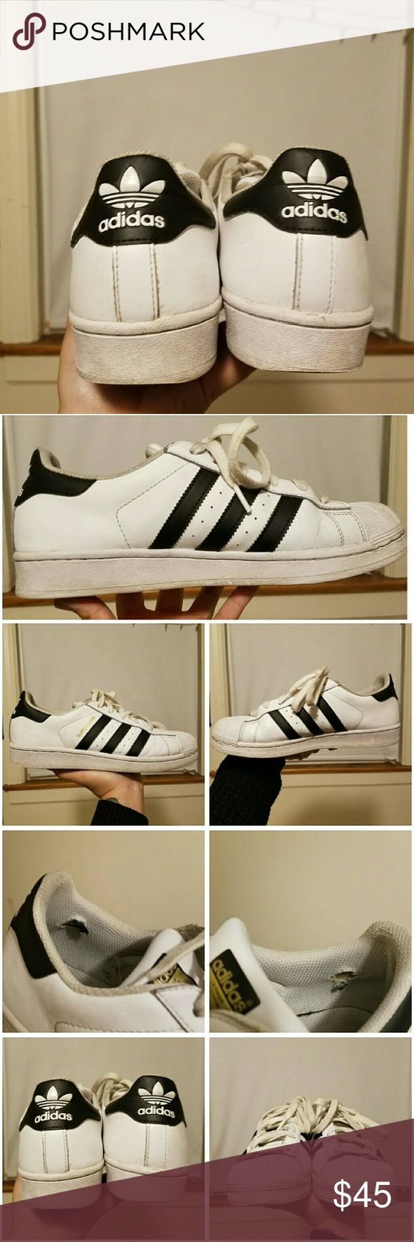 Adidas Superstar Sneakers (B7) (W9) Boys 7 but equivalent to women's 9. Will come in original box. Travelled Europe with these babies. Some good memories but haven't worn since I've been back :( Need new home! Adidas Shoes Sneakers