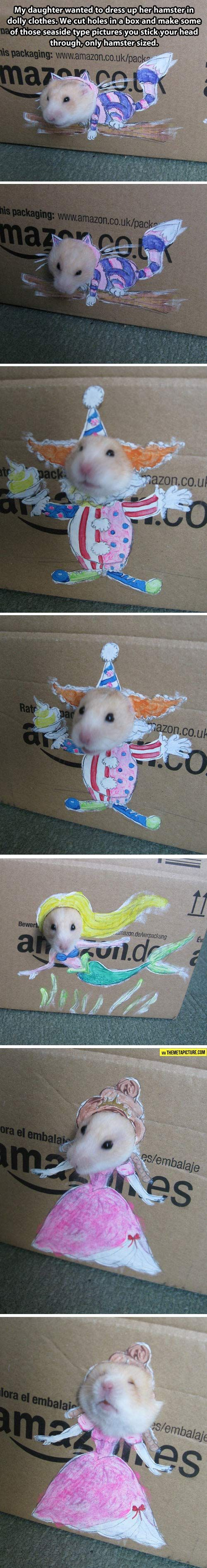 How to make a little girl really happy… putting hamster in doll clothes