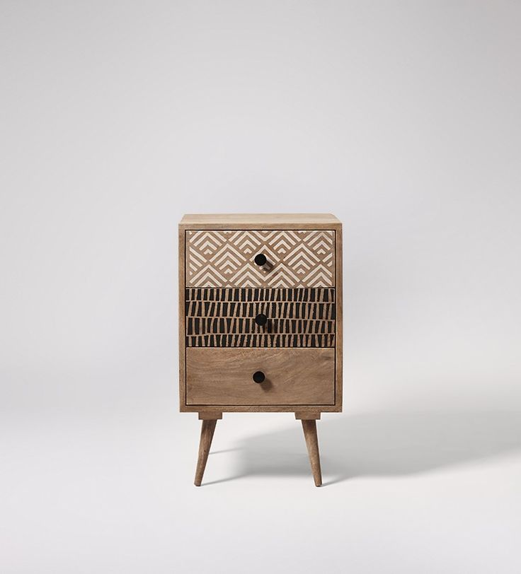 Swoon Editions Bedside cabinet, retro style in grey wash - £179