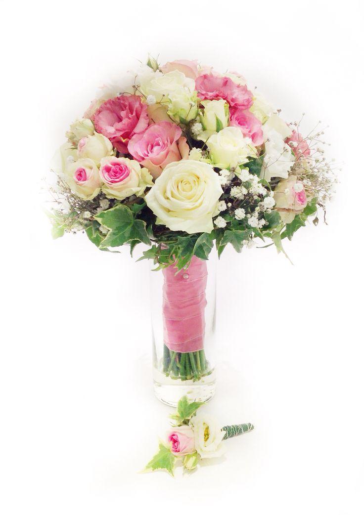 brautstrau rosa wei mit rosen eustoma und efeu brautstr u e von princess dreams. Black Bedroom Furniture Sets. Home Design Ideas