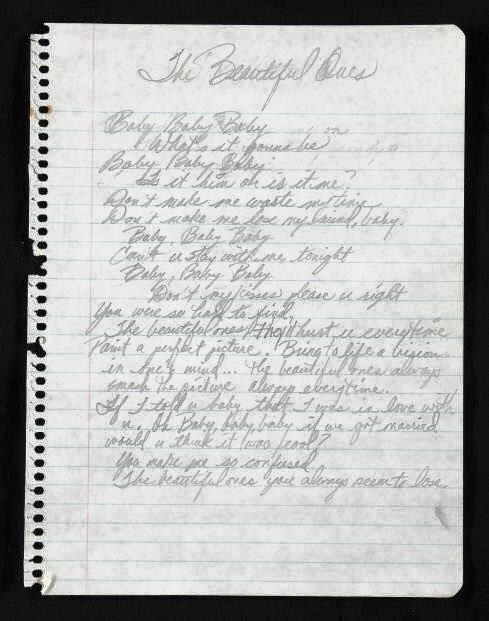 "Prince handwritten lyrics for ""The Beautiful Ones"""