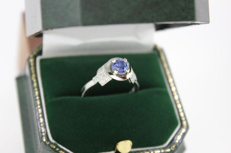 Platinum handmade engagement ring. Custom made. Natural blue sapphire centre stone. 1pt white diamond set in the shoulders. Art Deco design.  #Custom #Design #Luxury #Engagement #Bridal #Wedding #Jewellery #MasterJeweller #TerryCockrem #RoseandCrownJewellers #Platinum #Gold #Diamond #Sapphire #Emerald