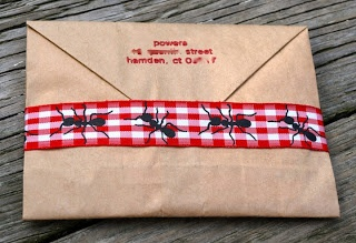 Picnic invitations, mailed in a paper bag. Speaks to the causal tone of the day.