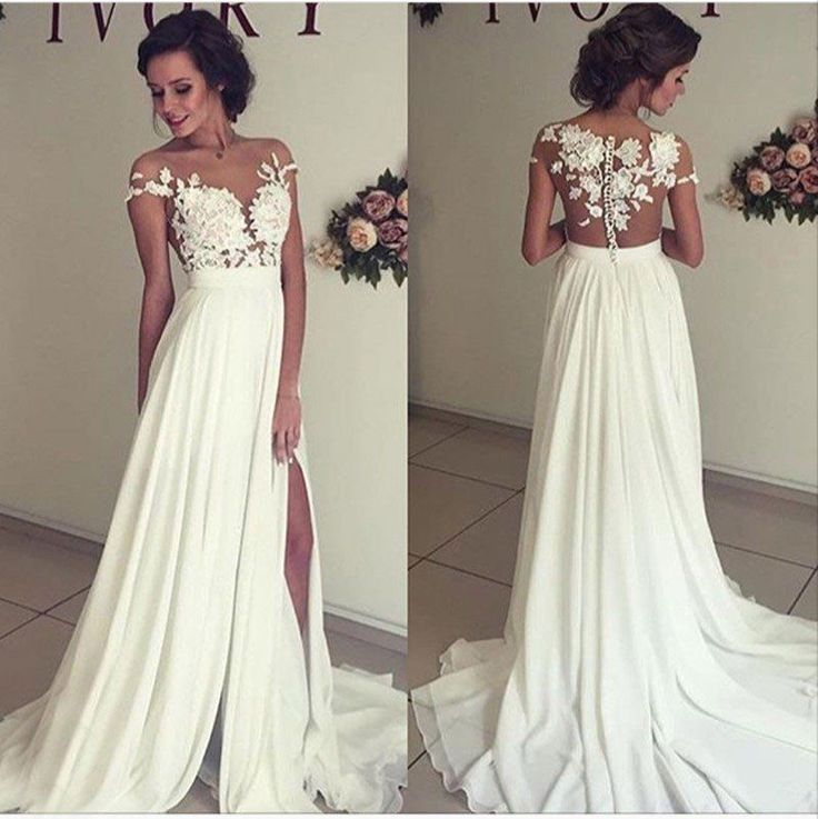 See-trough Lace Appliqued Bodice Off the Shoulder Beach Wedding Dress