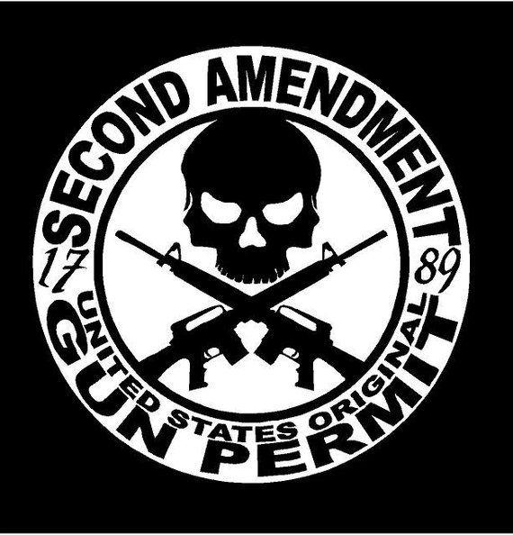 My Gun Permit 2nd Amendment Skull Bumper Sticker Car Window Wall 3M Vinyl Decal