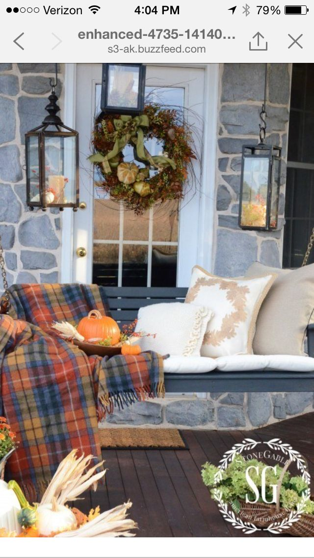 Porch swing decor for fall